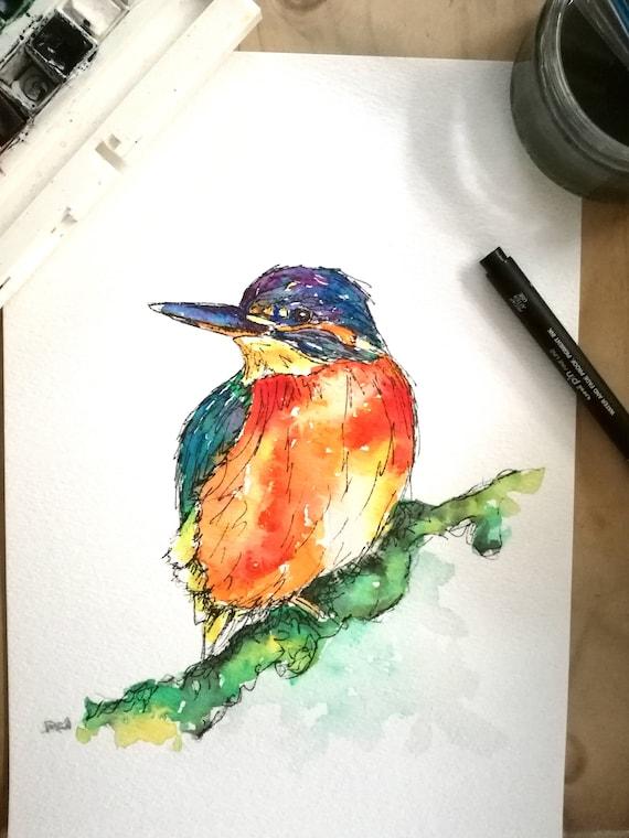 PROUD KINGFISHER watercolour print by R Nolan