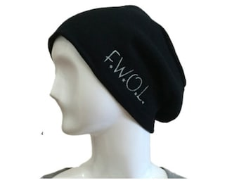 """Beanie - Slouch - """"F.W.O.L"""", Original Embroidered Graphic Design"""