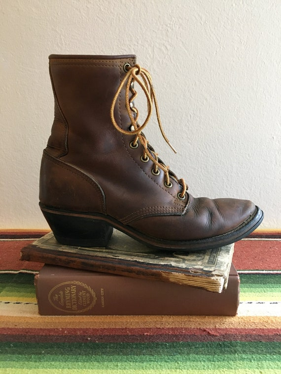 Vintage 1970s Brown Leather Packer Boots, Ladies S