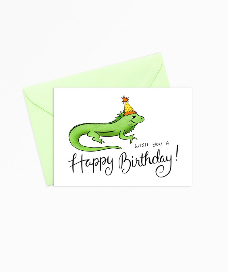 Printable Greeting Card Instant Download Iguana Wish You A Happy Birthday