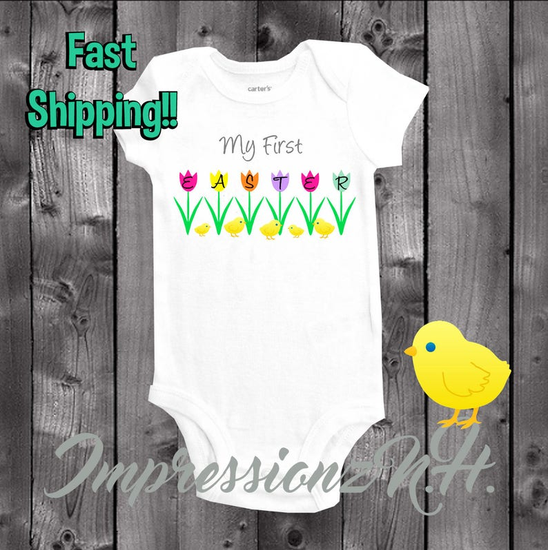 598a7baba My First Easter Baby one-piece bodysuit shirt 1st easter | Etsy