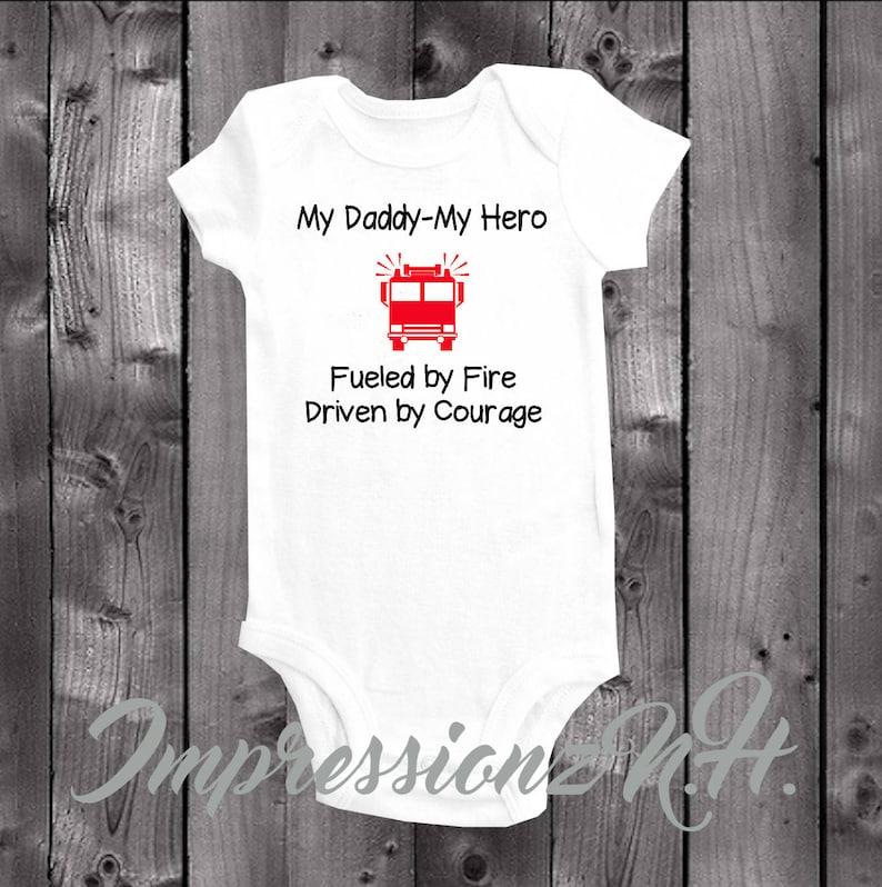 65576e32de045 Cute firetruck onesie and bodysuit - My Daddy, My Hero, firefighter Dad,  Hero Dad, Fireman Dad