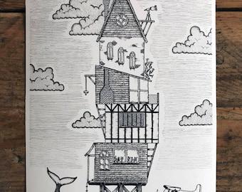 Dreamhouse A4 Giclée Print (House clouds illustration)