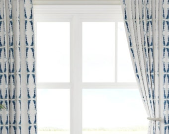 QUICK SHIP NAVY curtains dark blue and white drapes navy ikat curtains navy ikat drapes navy white window treatments dining room curtains