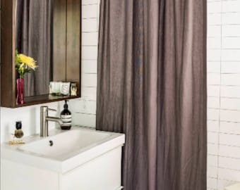 Long Shower Curtain Linen Brown Custom Fabric Extra Farmhouse Natural Burlap Masculine Modern Grey