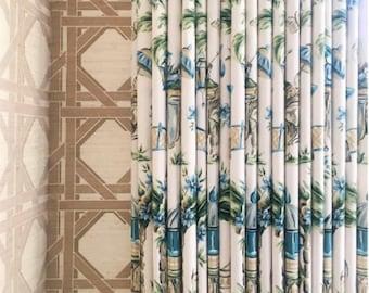 Blue Green Curtains Oriental Pagoda Asian Drapes Custom Chinoiserie Curtain Panel Extra Long