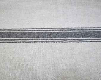 LAST ONE Modern Farmhouse Shower Curtain Stripe Black Ticking Tan Striped Fabric Extra Long