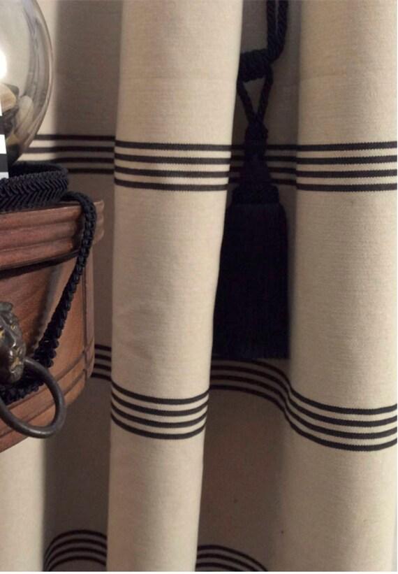 Modern Farmhouse Shower Curtain Stripe Black Ticking Tan