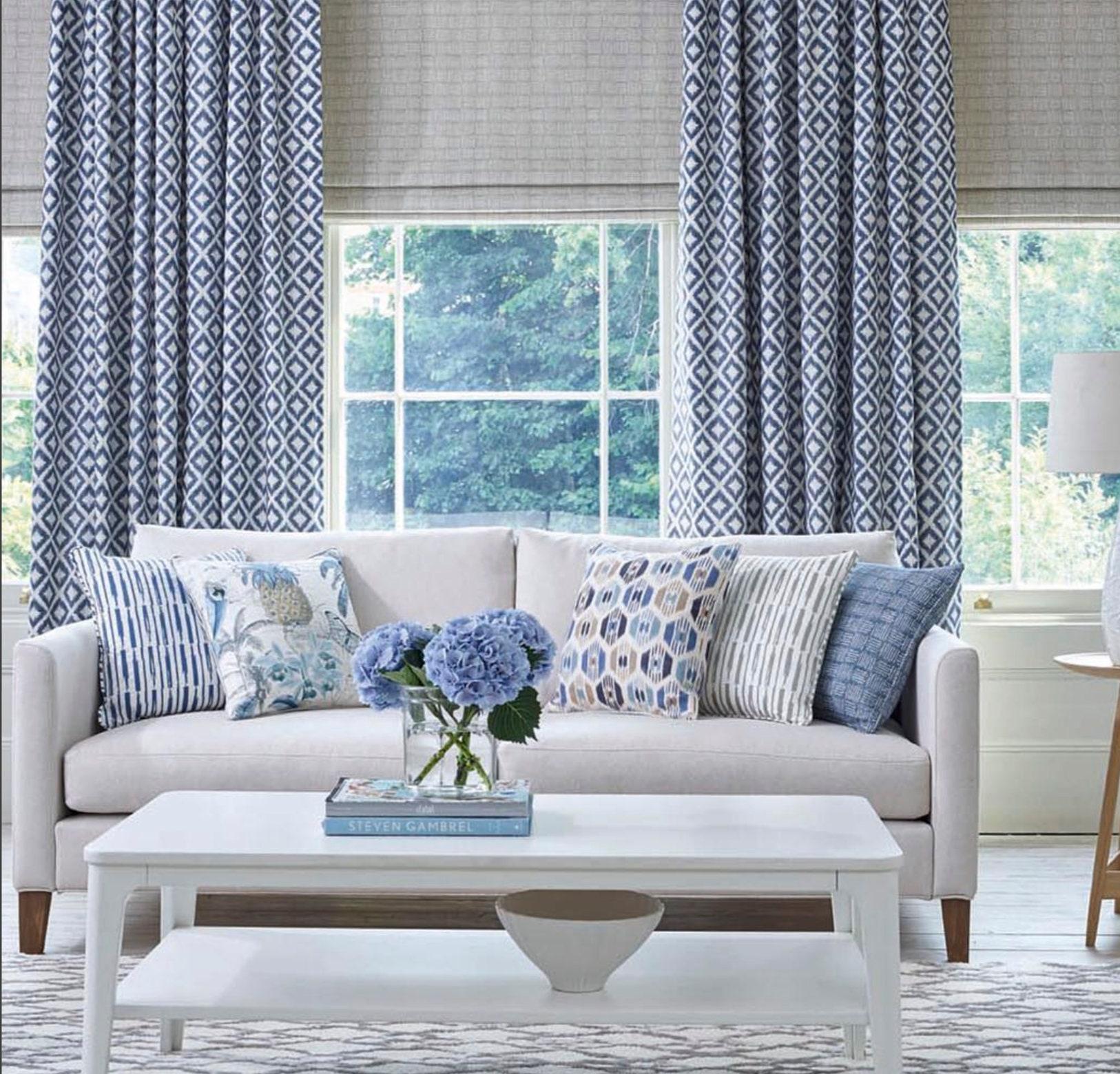 Blue Ikat Curtains Diamond Pattern Curtains Living Room Etsy