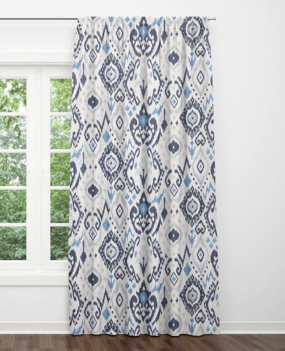 Blue Ikat Curtains Blue Grey Curtains Dining Room Curtains | Etsy