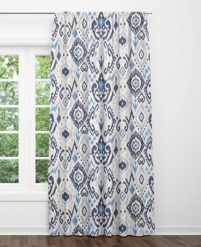 Blue Ikat Curtains Grey Dining Room