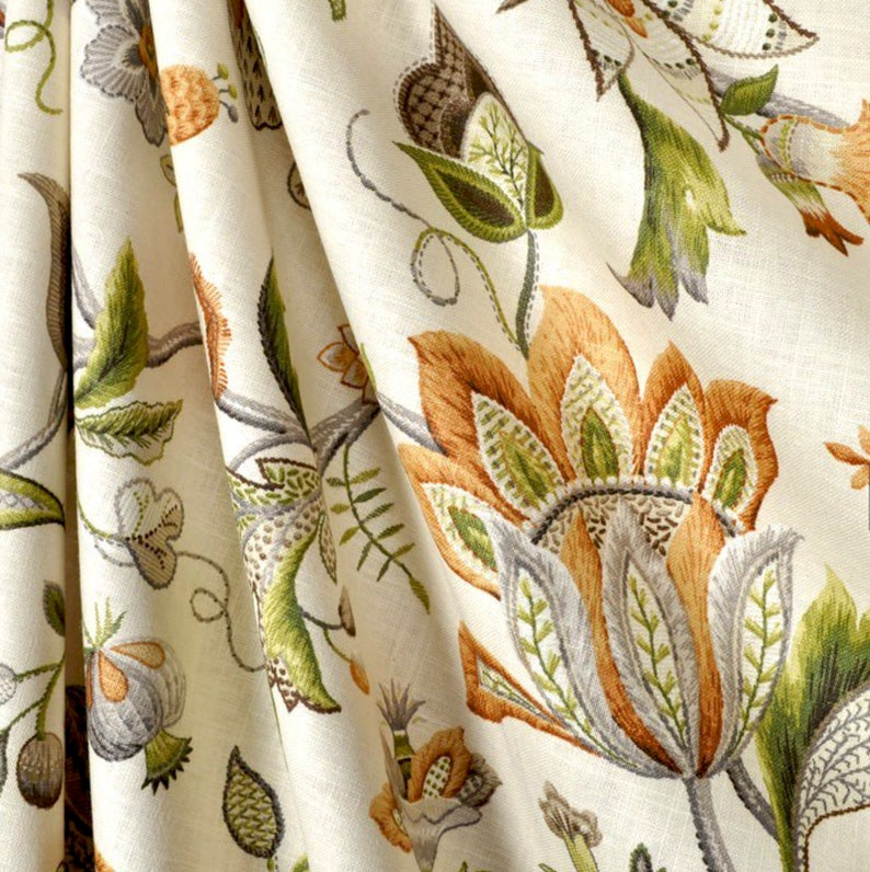Jacobean curtains green orange beige curtains floral curtains | Etsy