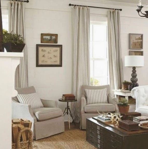 Cottage Bedroom Curtain Ideas: Modern Farmhouse Curtains Tan Stripe Curtains Cottage Chic