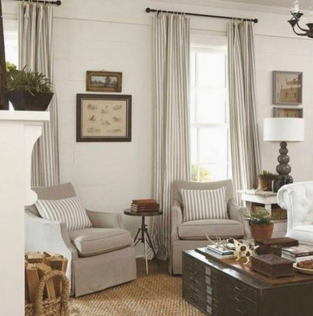 Modern farmhouse curtains tan stripe curtains cottage chic ... on Farmhouse Curtain Ideas For Living Room  id=50379