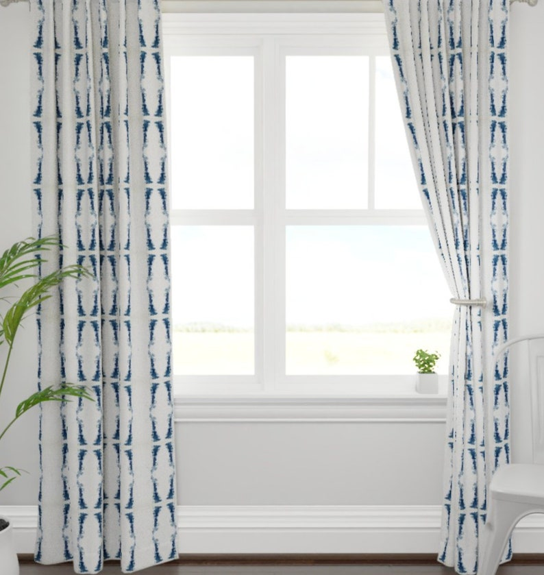 NAVY Curtains Dark Blue And White Drapes Navy Ikat