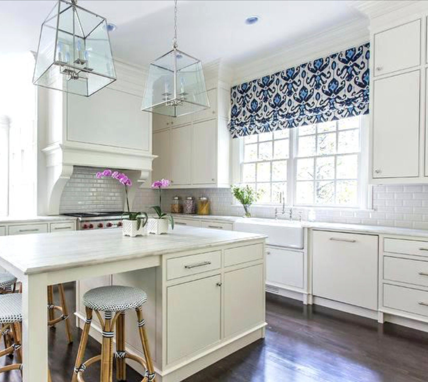 White Kitchen Blinds: Blue Ikat Faux Roman Shades Or Functioning Roman Shades