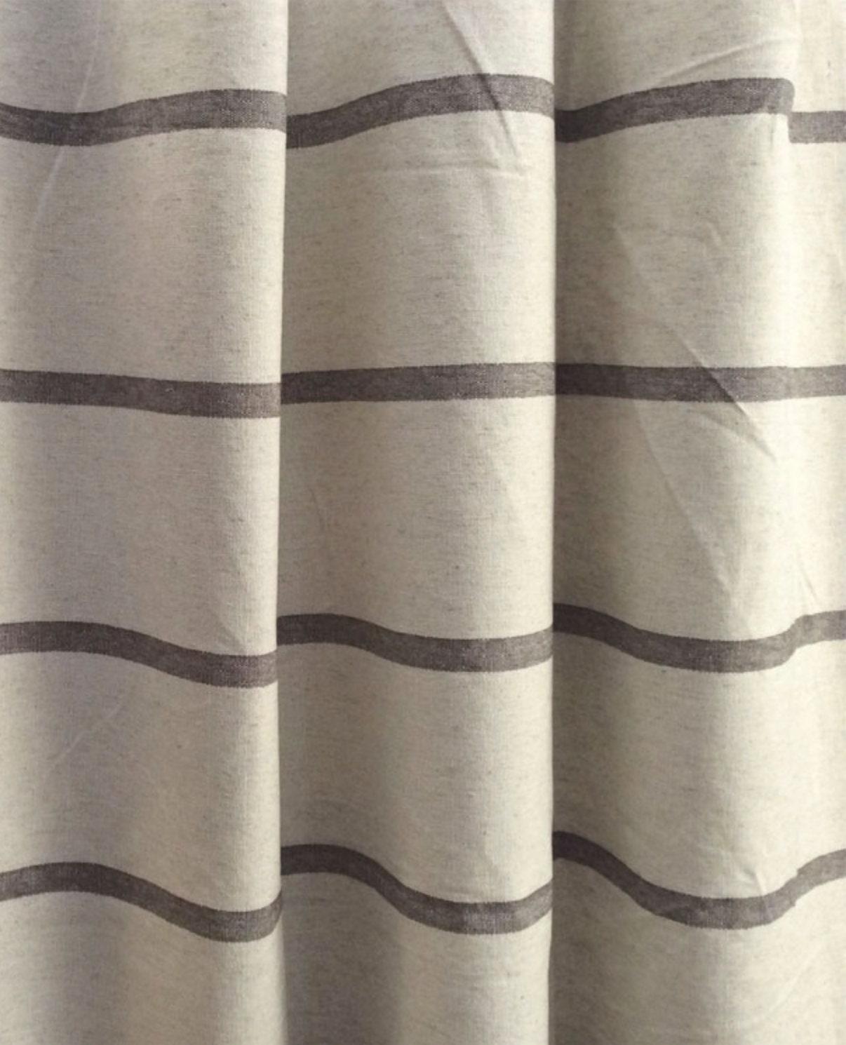 Modern Farmhouse Shower Curtain Stripe Brown Stripe Brown Ticking Striped Fabric Shower Curtain Shower Curtain Extra Long Extra Wide Linen