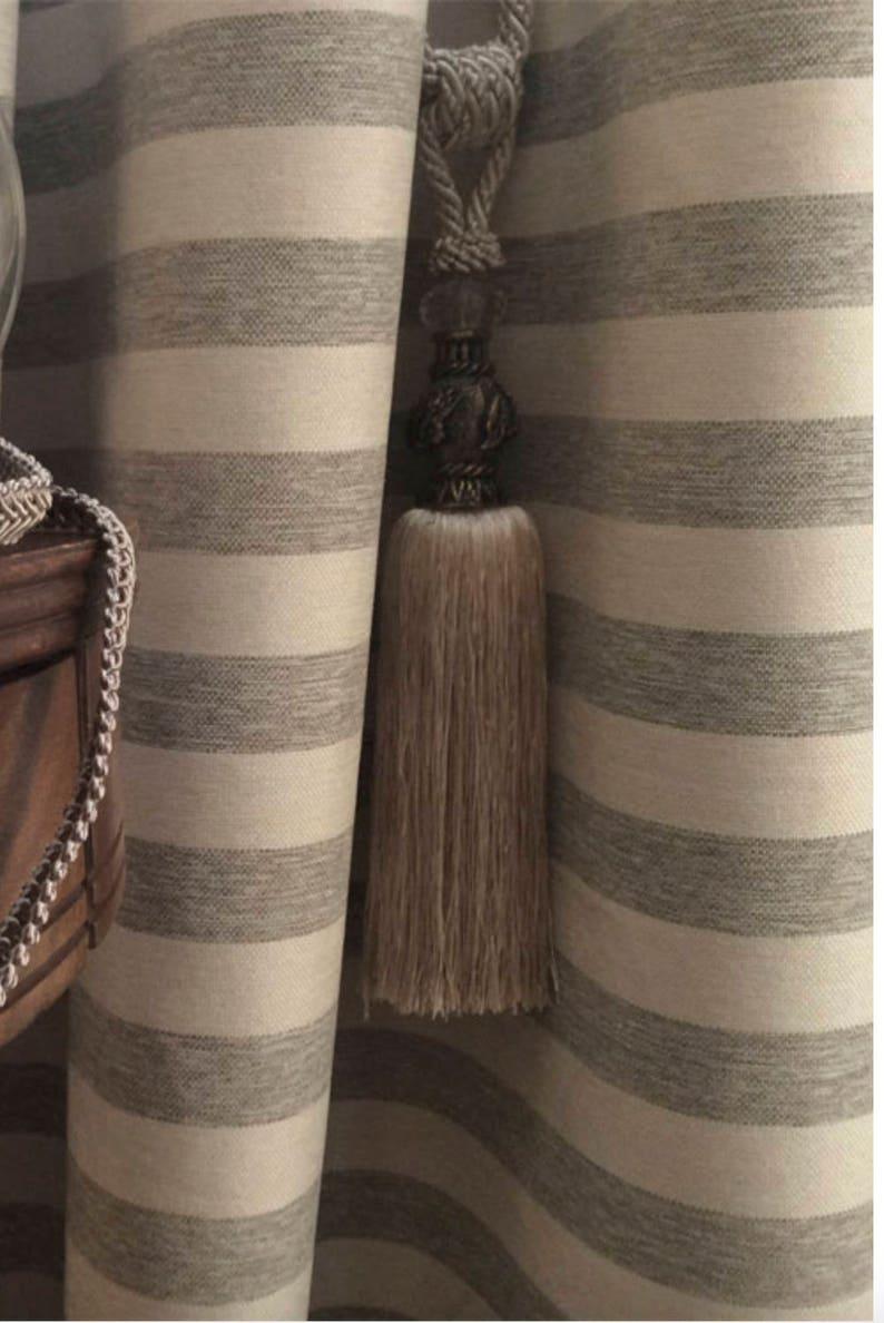 Modern Farmhouse Shower Curtain Beige Grey Stripe Ticking Tan