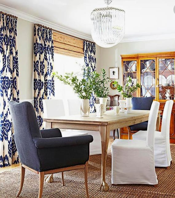 Dining Room With Navy Curtains