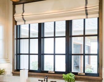 Modern Farmhouse Roman Shades CUSTOM Size Gray Stripe Roman Shades Check  Kitchen Window Shades Offwhite Linen