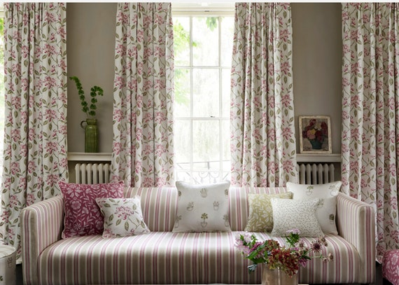 Embroidered Floral Curtains Pink Flower Curtains Floral Drapes Etsy