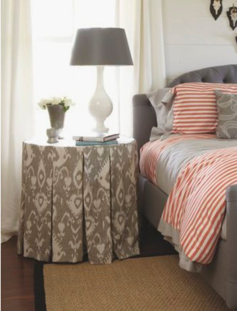 Bedside Round Table.Bedside Table Skirt Ikat Table Cloth Pleated Box Pleats Beige Ivory Table Skirt Round Tableskirt Pleats Tailored Round Table Cloth Ikat Side