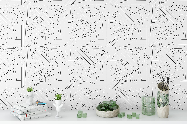 Removable Wallpaper Black White Lines Peel Stick Wallpaper Etsy