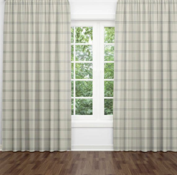 Grey Windowpane Check Curtains Plaid Country