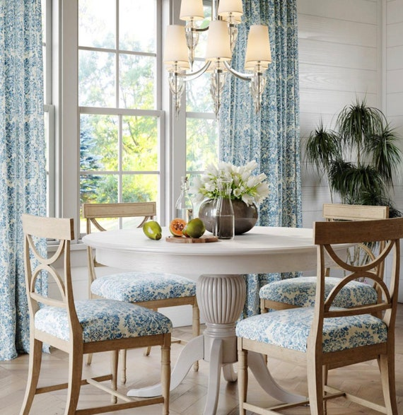 Blue white farmhouse curtains blue linen curtains dining room curtains blue  white curtain panels damask curtains blue white dining room