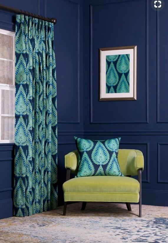 Blau Samt Vorhange Petrol Vorhange Samt Gardinen Blau Paisley Etsy