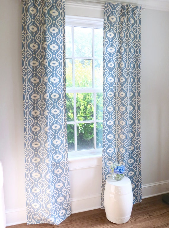 Blue Ikat Curtains Light Blue Curtains Ikat Curtains Blue Etsy