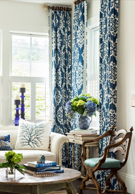 Blue IKAT Curtains White Navy Drapes