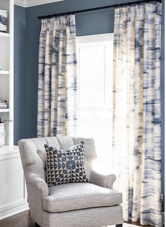 Blau Weiß Grau Weiß Vorhänge Vorhang Platten Aquarell Druck Marine Und Weiße Vorhänge Blauen Und Weißen Punkten Leinen Vorhänge Vorhänge Colorblocl