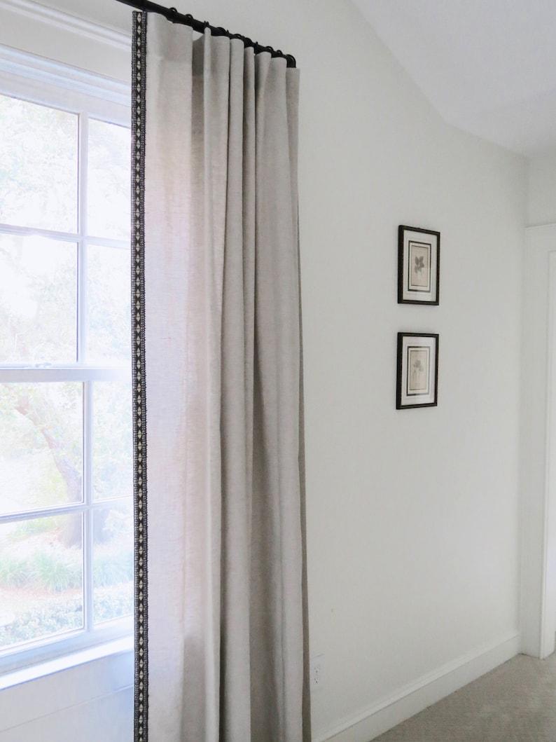 Linen curtains with trim beige linen tan linen dark gray trim | Etsy