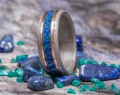 Silver dyed Eucalyptus Bent Wood Ring with a center inlay blend of Lapis Lazuli and Dioptase crystal, mens womans wood anniversary ring