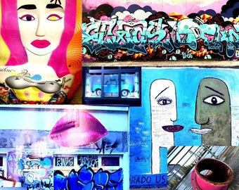 Street Art Collage on metal, wall decoration in limited edition, custom-made, snapshots from Berlin, picture