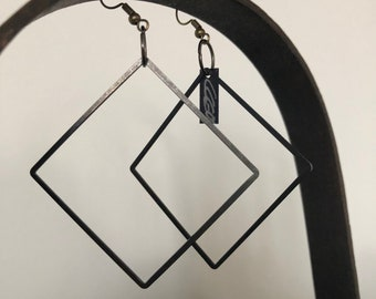 black metal earring, minimalistic geometric form, very light creole, elegant matte design, mid size, square earring