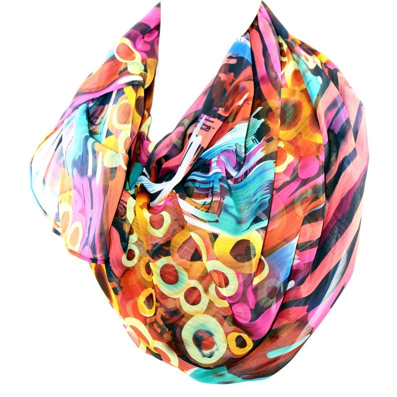 SCARF  XXL made of pure silk unique model in bright colors image 0
