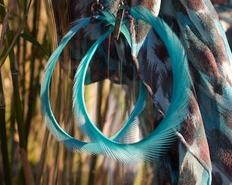 EARRINGS, EARHOOPS, big Earrings, big Ear Hoops, light earrings, turquoise earrings, feather earrings, light, exotic feather earrings