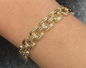 "NEW 14K Solid Italian Yellow Gold 9mm Bold Link Chain Bracelet, Textured Bracelet, Hollow Bracelet, Stacking Bracelet 7.25"" Length"