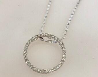 "NEW 14K White Gold Circle Diamond Pendant Necklace Length 18"""