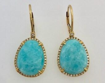 14K Yellow Gold Amazonite Diamond Drop Earrings