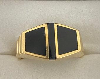 VINTAGE 14K Yellow Gold Black Onyx Men's Signet Ring Size 10 1/4 US
