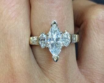VINTAGE 18K Yellow Gold Ladies Marquise Diamonds Engagement Ring Size 6 1/2 US