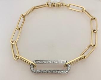 "NEW 14K Yellow Gold Two Tone Diamond Paper Clip Bracelet, Layering Bracelet, Dainty Bracelet Length 8"""