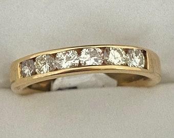 VINTAGE 14K Yellow Gold Half Eternity Total 0.75-Carat Diamond Wedding Band Ring Size 8 1/2 US