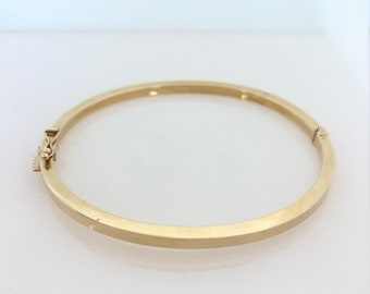 5fec76a9f75 14K Yellow Gold Oval Bangle with Box Clasp and Figure Eight, Hollow Bangle  with 2.25