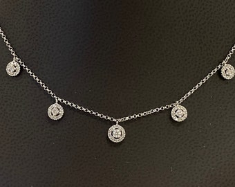"""NEW 14K White Gold And 5 Diamond Station Necklace, Diamond By The Yard Necklace, Dainty Diamond Necklace, Bridal Necklace Length 16"""""""