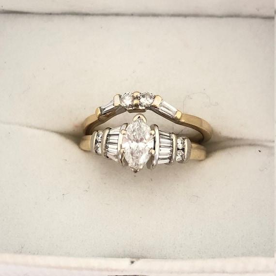 14k Yellow Gold Marquise Diamond Wedding Ring Set Size 7 Us Etsy