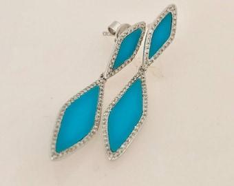 14K White Gold Turquoise Diamond Dangle Earrings